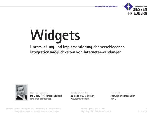 VDE: Präsentation Widgets
